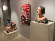 Migrant Child, by Marcia Polenberg; The wall piece, by Trisha Schultz; Madre, by Marcia Polenberg